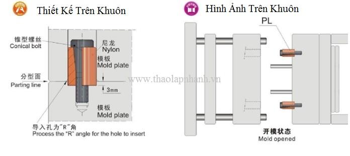 khóa khuôn dùng trong khuôn ép nhựa kết cấu khuôn ba tấm
